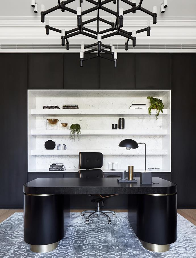 "A cool, contemporary aesthetic prevails in the office of this bold [19th century home](https://www.homestolove.com.au/two-storey-victorian-home-with-edgy-interior-melbourne-19201|target=""_blank"") revamped by Christopher Elliott Design. *Photograph*: Jack Lovel. From *Belle* November 2018."