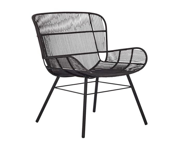 "'Amalfi' outdoor lounge chair, $795, [Coco Republic](https://www.cocorepublic.com.au/|target=""_blank""|rel=""nofollow"")."
