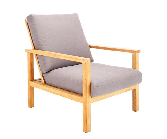 "'Burleigh' easy chair, $1749, [Eco Outdoor](https://www.ecooutdoor.com.au/|target=""_blank""|rel=""nofollow"")."