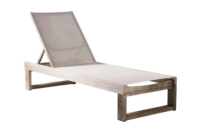 "'Portside' outdoor lounger, $799, [West Elm](http://www.westelm.com.au/|target=""_blank""|rel=""nofollow"")."