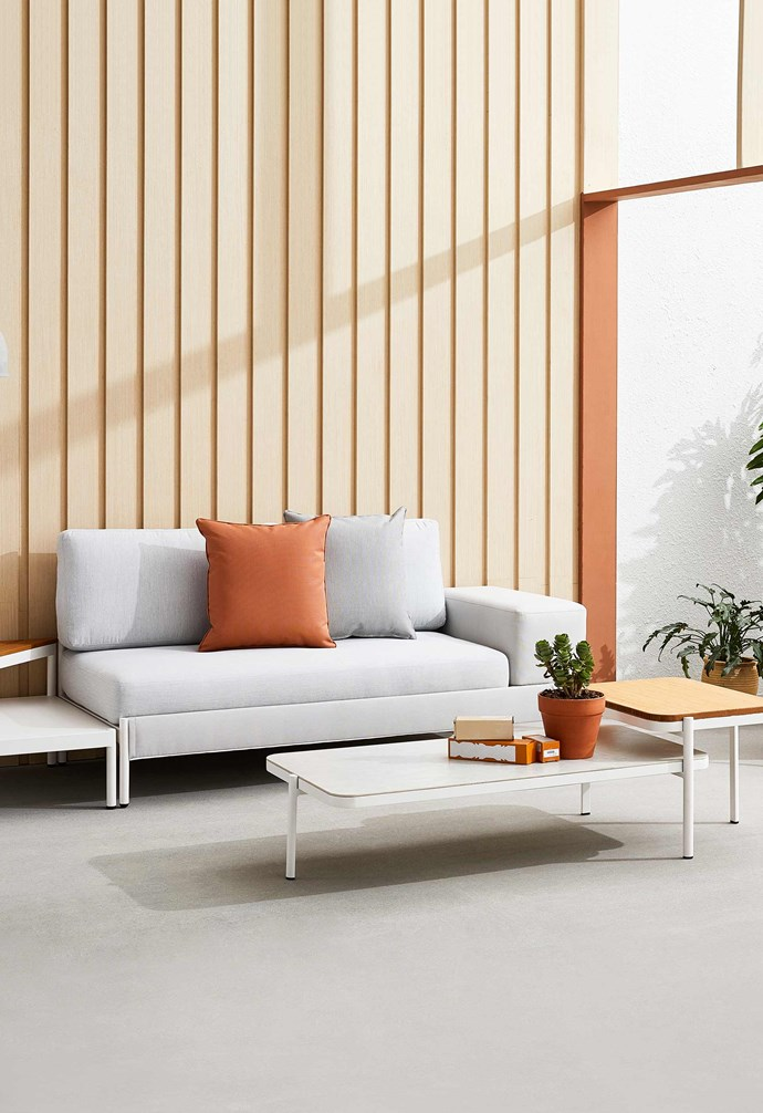"""Kun Design 'Lego' sofa, from $2495, coffee table, from $1195, and side table, from $850, [Domo](https://www.domo.com.au/