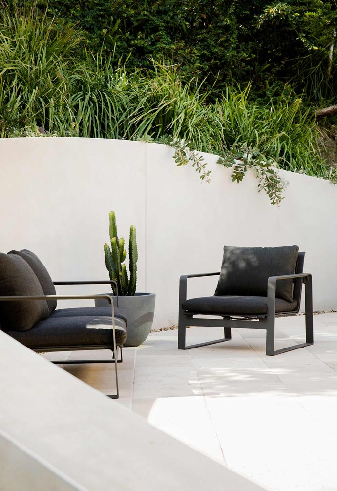 "The Tulloch lounge, $2399, and chair, $1349, [Eco Outdoor](https://www.ecooutdoor.com.au/|target=""_blank""