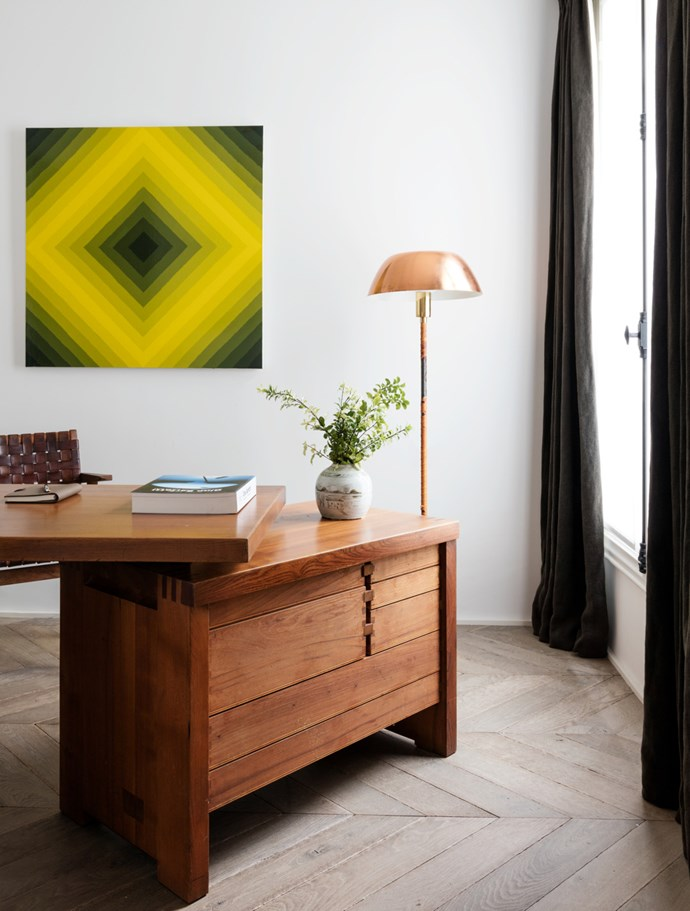 Restrained natural materials laid in subtle patterns create visual calm in this Parisian apartment's office designed by Belgian architect/interior designer Nicolas Schuybroek. *Photograph*: Stephan Julliard. From *Belle* October 2016.