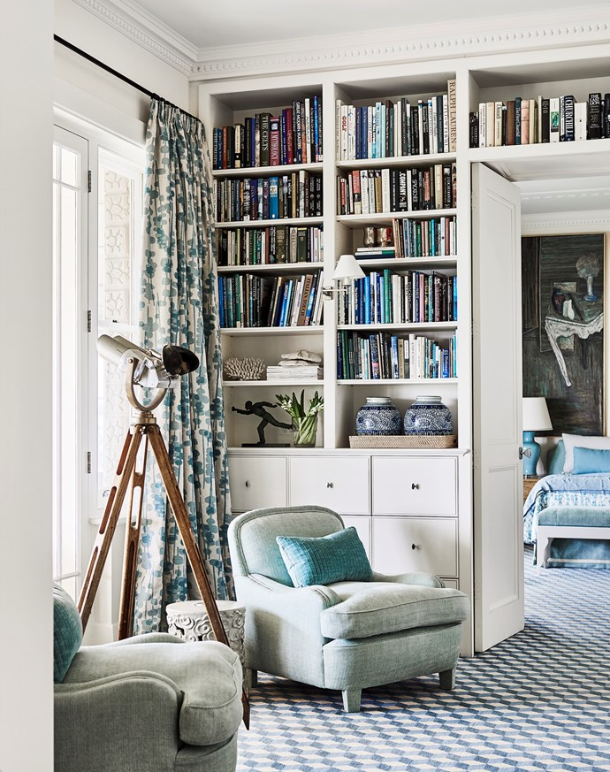 This cosy reading nook designed by Adelaide Bragg features an armchair upholstered in Jim Thompson fabric from Milgate with cushions in Mogador fabric from South Pacific Fabrics. *Photograph*: Lisa Cohen. From *Belle* November 2018.