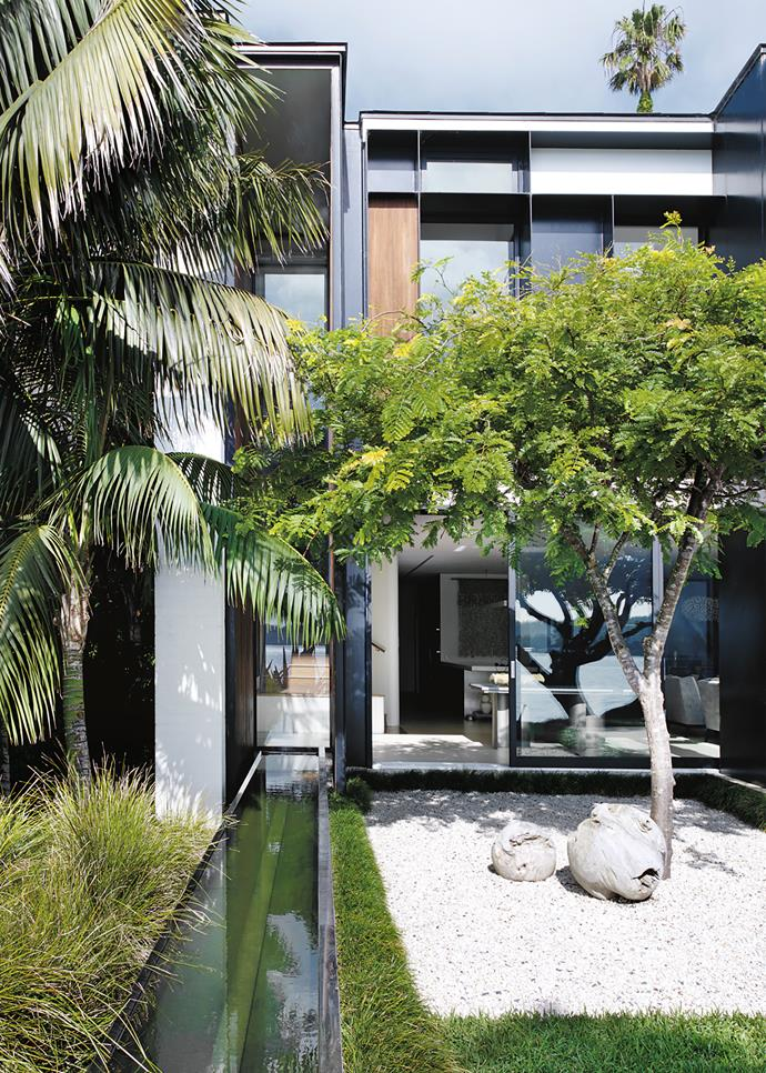 Landscape designer William Dangar created a Japanese courtyard of white Cowra pebbles planted with gleditsia beside the linear water featured in this Sydney garden. *Photograph*: Prue Ruscoe. From *Belle* November 2017.