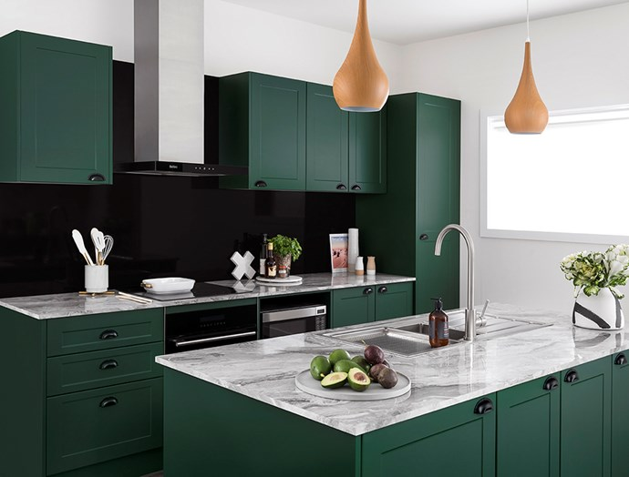 Kaboodle's kitchen cabinetry (here in Vivid Basil) is easy to install. *Image / supplied*