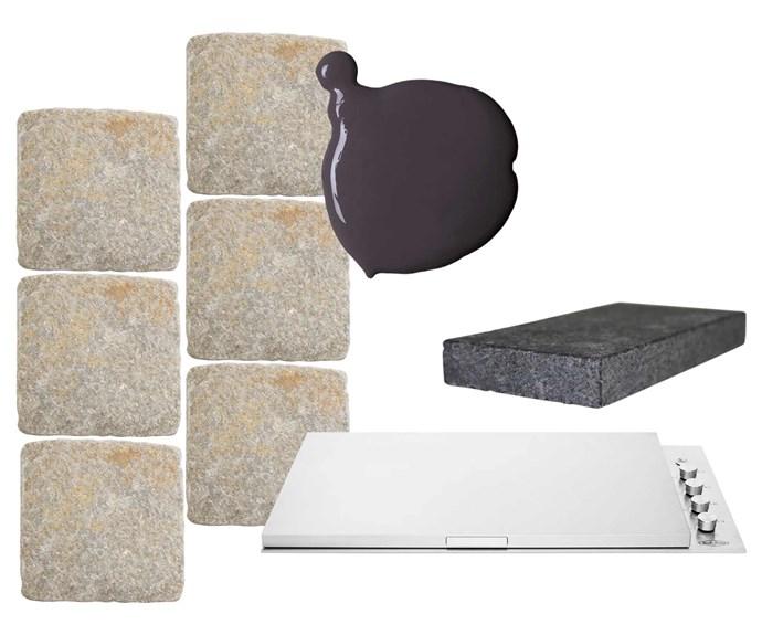 "**Get the look** (clockwise from left) 'Silex' cobblestone, $132/sqm, [Eco Outdoor](https://www.ecooutdoor.com.au/|target=""_blank""|rel=""nofollow""). 'Weathershield' low sheen paint in Monument, $93.90/4L, Dulux, dulux.com.au.  'Raven Granite' paver, from $130/sqm, [Eco Outdoor](https://www.ecooutdoor.com.au/|target=""_blank""|rel=""nofollow"").  Beefeater 'Signature ProLine' BSL158SA six-burner built-in natural gas barbecue. $2949, Winning Appliances, winningappliances.com.au."