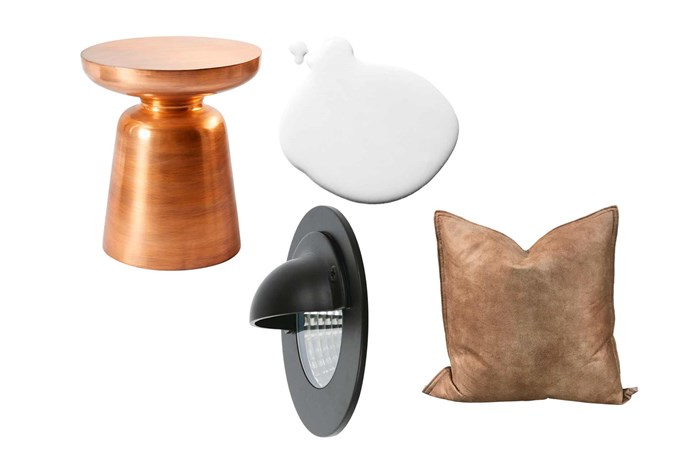"""**Get the look** (clockwise from left) 'Martini' side table in Copper, $199, [West Elm](http://www.westelm.com.au/