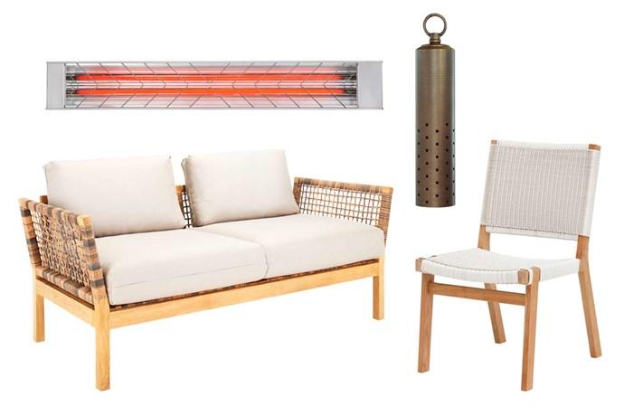 "**Get the look** (clockwise from left) Heatstrip 3600W max radiant outdoor heater, $849, [Bunnings](https://www.bunnings.com.au/|target=""_blank""|rel=""nofollow""). 'Speckle' hanging light in Bronze, $261.80, [Gardens At Night](https://www.gan.com.au/|target=""_blank""|rel=""nofollow""). 'Barwon' dining chair, $499, [Eco Outdoor](https://www.ecooutdoor.com.au/|target=""_blank""|rel=""nofollow""). 'Hutt' sofa, $2899, [Eco Outdoor](https://www.ecooutdoor.com.au/|target=""_blank""|rel=""nofollow"")."