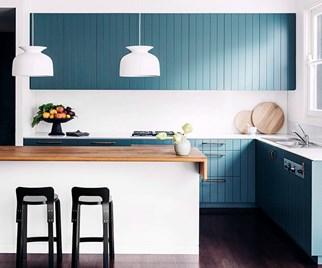 Aqua and white kitchen