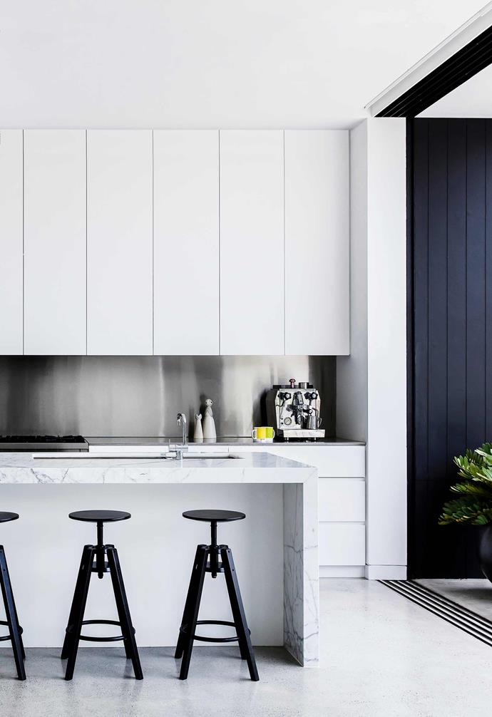 "**Kitchen** Keeping with the monochrome base palette, 'Dalfred' bar stools from IKEA complement the Calacatta marble island bench from Classic Tiles and crisp-white joinery in Dulux Lexicon Quarter. 'KV1' Mixer, Vola. Freestanding Cooker, [Smeg](https://www.smeg.com.au/|target=""_blank""