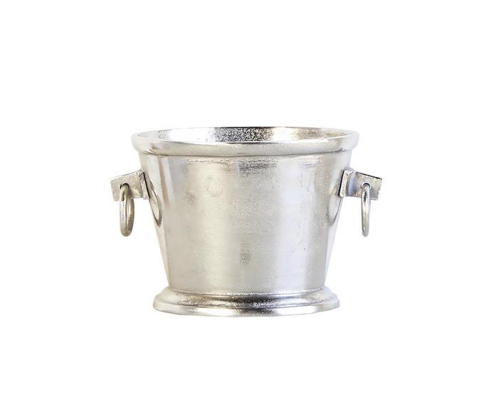 'Ellison' oval metal ice bucket, $140, Living By Design; livingbydesign.net.au