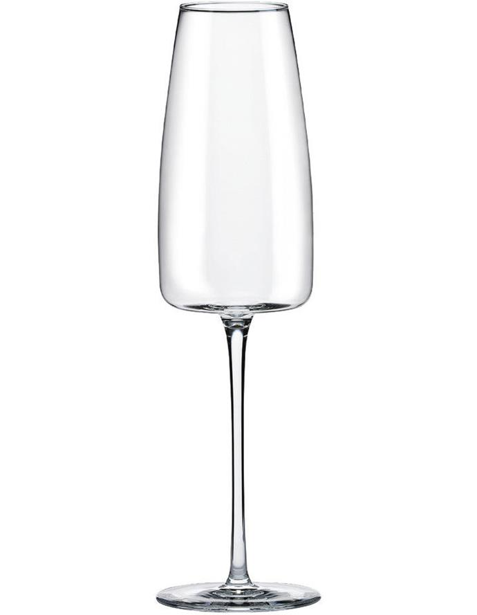 Australian House & Garden 'Lord' crystalline-glass Champagne flutes, $40/set of four, Myer; myer.com.au