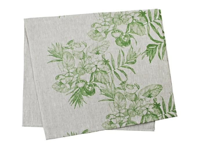 'Daintree Green' linen tablecloth , from $215/145x250cm, Bonnie and Neil; bonnieandneil.com.au