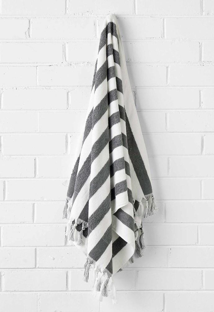 "Stripe bath sheet in Smoke, $79.95, [Aura Home](https://www.aurahome.com.au/|target=""_blank""|rel=""nofollow"")."