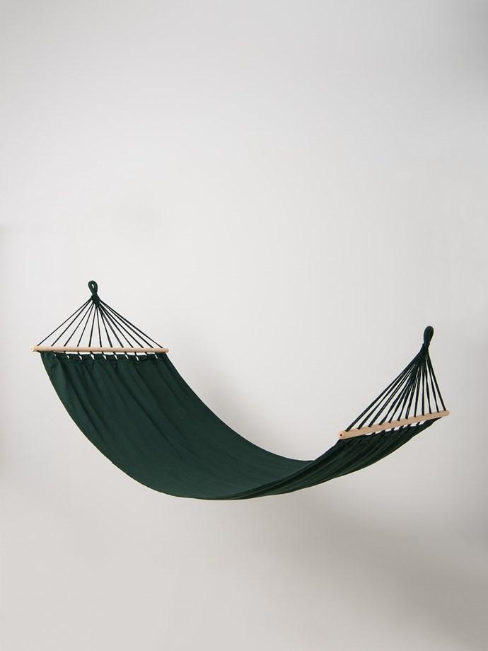 "Sway hammock in Moss, $79.90, [Citta](https://www.cittadesign.com/house-home/beach-outdoor/hammocks/sway-fabric-hammock-cpp0015|target=""_blank""|rel=""nofollow"")."