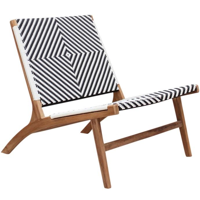 "Zahara Teak Outdoor Lounge Chair, $499, [Temple & Webster](https://www.templeandwebster.com.au/Zahara-Teak-Outdoor-Lounge-Chair-SRC004-HUDA1324.html|target=""_blank""|rel=""nofollow"")."