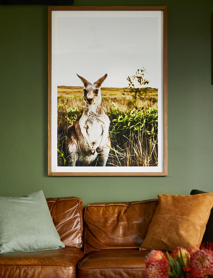 The bush surroundings have even inspired the artwork. Freedom leather sofa, bought secondhand. 'Dane' wool cushion in Sage and 'Ryder' leather cushion in Tan, both Abode Living. Local hero: 'Kangaroo Close-Up' photographic print by Kara Rosenlund, from $290 (unframed).