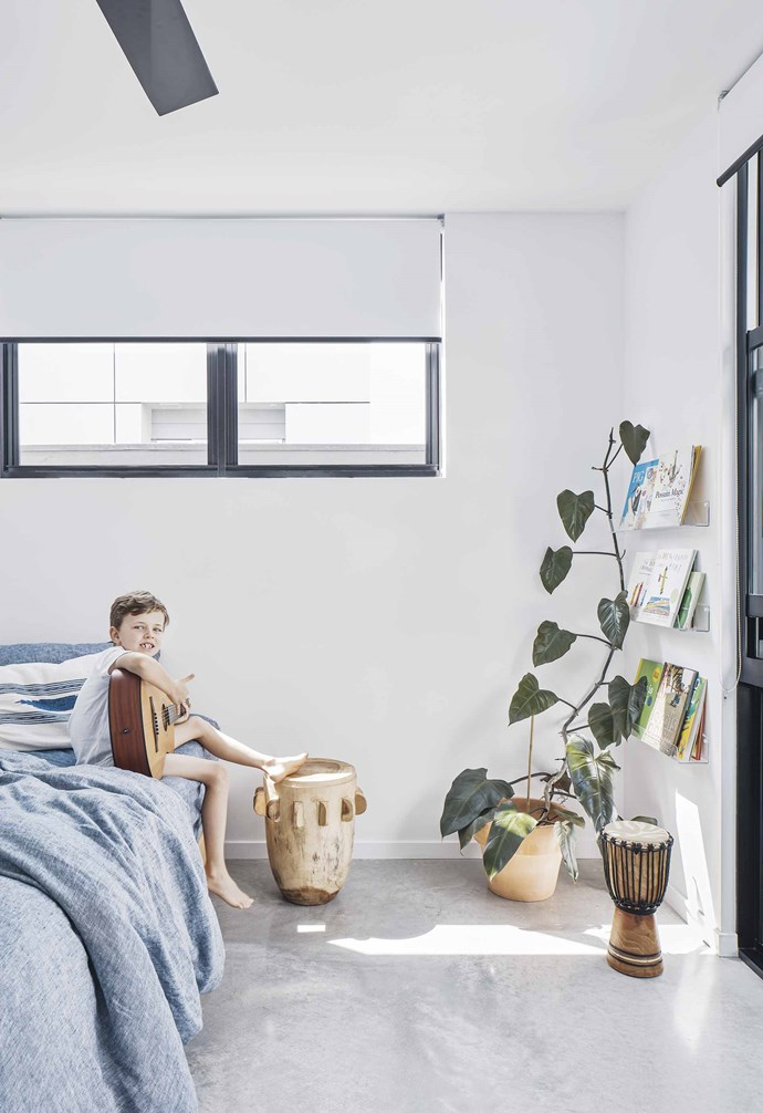 "**Jude's bedroom** Linen bedding from Dos Ombré and a rustic 'The Tribe' stool from [Worn](https://wornstore.com.au/|target=""_blank""