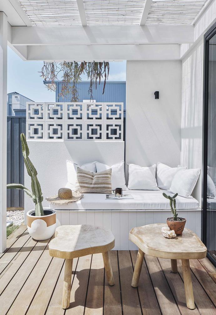 "**Patio** Light filters through a painted bamboo roof in this charming nook off the kitchen. Timber coffee tables from [Kira & Kira](https://kiraandkira.bigcartel.com/|target=""_blank""