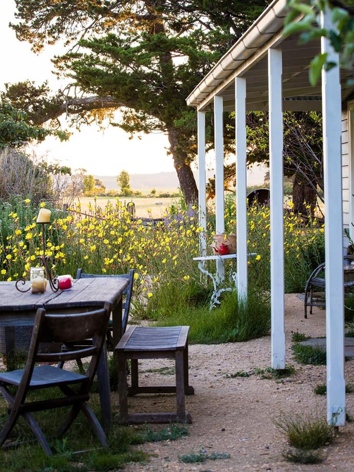 An outdoor dining room with a view.