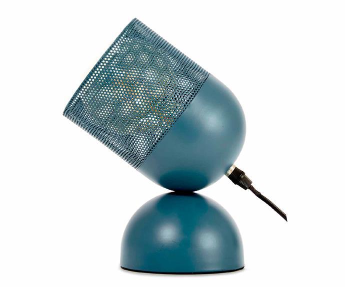 "Perforated blue lamp, $10, [Kmart](https://www.kmart.com.au/|target=""_blank""|rel=""nofollow"")."
