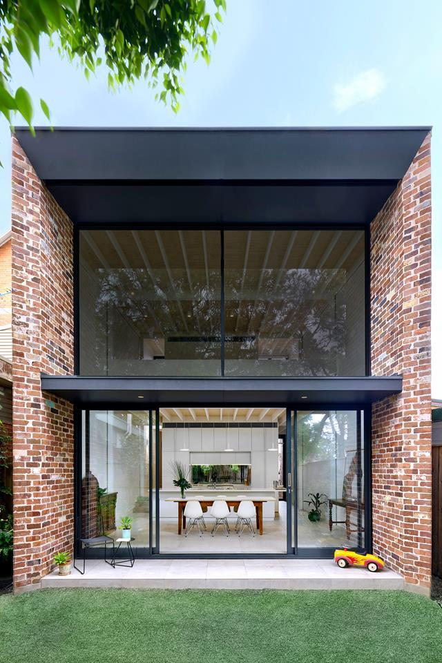 "[In this project](https://www.homestolove.com.au/brick-statement-walls-19098|target=""_blank""), Sydney's Kreis Grennan Architecture used dry-pressed bricks recycled from structures demolished on site. *Australian House & Garden*"