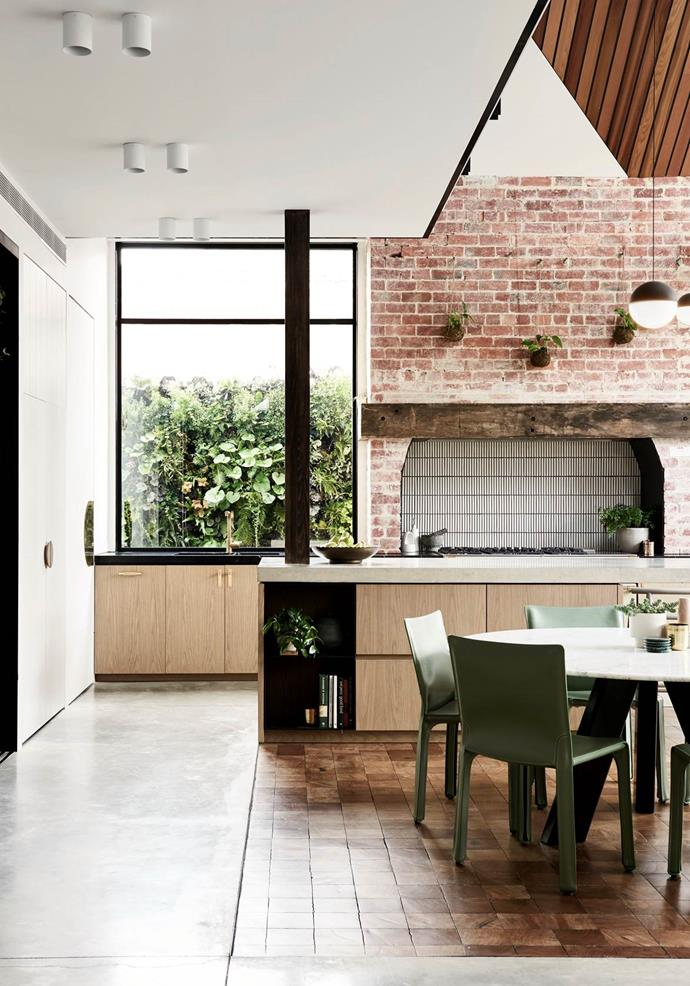Some of the original features of this Melbourne home conceived by BayleyWard were retained including this exposed brick wall in the kitchen. *Photo*: Eve Wilson | *Styling*: Claire Larritt-Evans | *Belle*