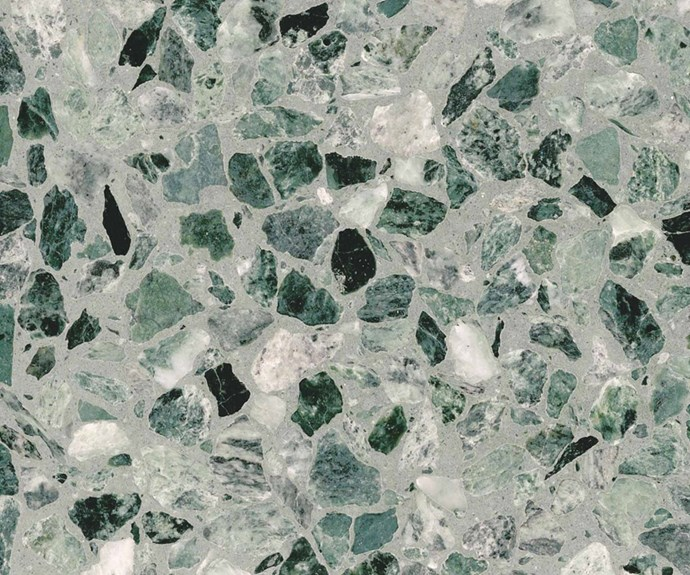 """**Custom concrete** """"What's big for 2019? [Coloured terrazzo](https://www.homestolove.com.au/4-reasons-terrazzo-is-the-latest-bathroom-trend-15571