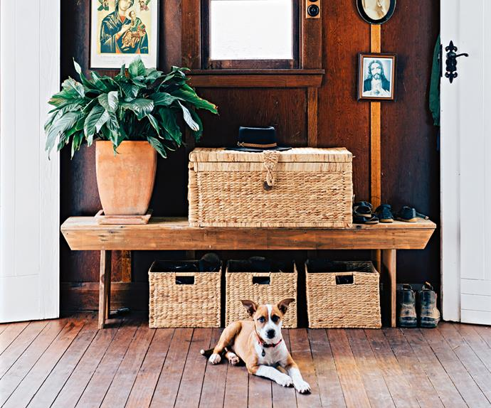 Dog lying in front of an upcycled church pew and wicker storage baskets