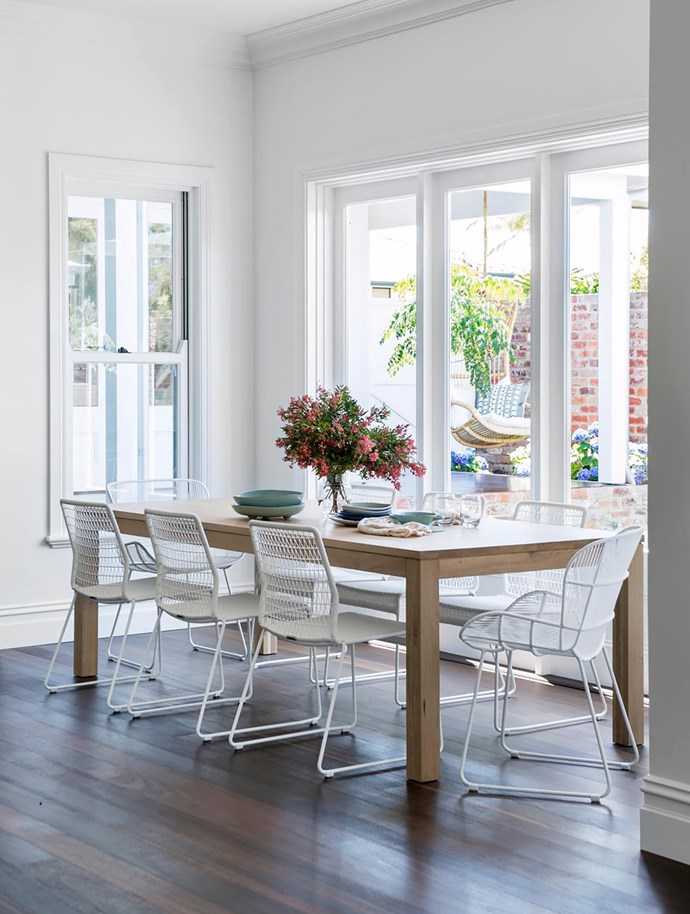 Intricate mouldings reinforce the classic 'old Australian' feel. 'Straight Design' dining table and chairs, Cranmore Home.