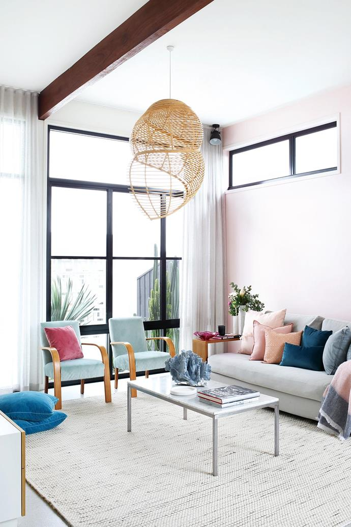 """**Colour play** Soft pastels pair beautifully with white walls in this [laid-back family home](https://www.homestolove.com.au/pops-of-pastel-and-laid-back-glamour-are-the-stars-of-this-family-home-18340