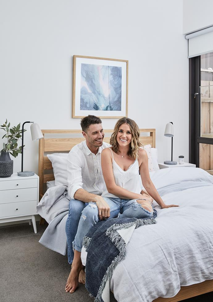 "Before the makeover, the bedroom was very much Lee's bedroom. ""It was a boy's bedroom,"" says Georgia. ""It was all navy and very masculine."" While Lee admits he was fine with it, it's clear they are both very happy with their new shared sanctuary."
