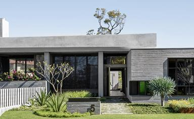 A concrete house with modernist lines