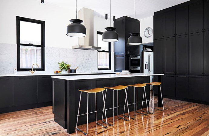 """The matte black cabinetry from Kinsman adds a luxe feel to this contemporary style kitchen. Image: Supplied / [Kinsman](https://kinsman.com.au/kitchens/