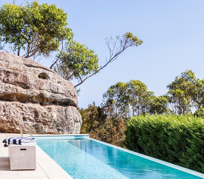 This sleek swimming pool designed by Thomas Hamel maintains a natural harmony with the very strong surroundings and elements of the bordering national park. *Photograph*: Matt Lowden. From *Belle* November 2018.