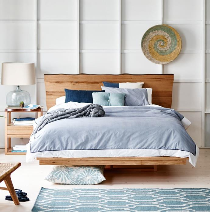 "Made from Stringy Bark Eucalyptus timber, every [Snooze Iris Dunes Slimline bed frame](https://www.snooze.com.au/products/iris-dunes-slimline-bed-frame?variant=6905677578273|target=""_blank""