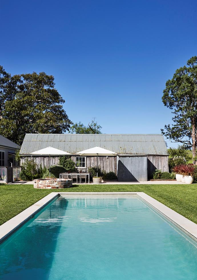 Designer Darryl Gordon's 1858 farmhouse boasts a refreshing swimming pool by Myles Baldwin Design with landscaping by Bruce Anderson of BA Landscapes. *Photograph*: Anson Smart. From *Belle November 2018.