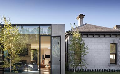A Victorian home with a modern pavilion extension