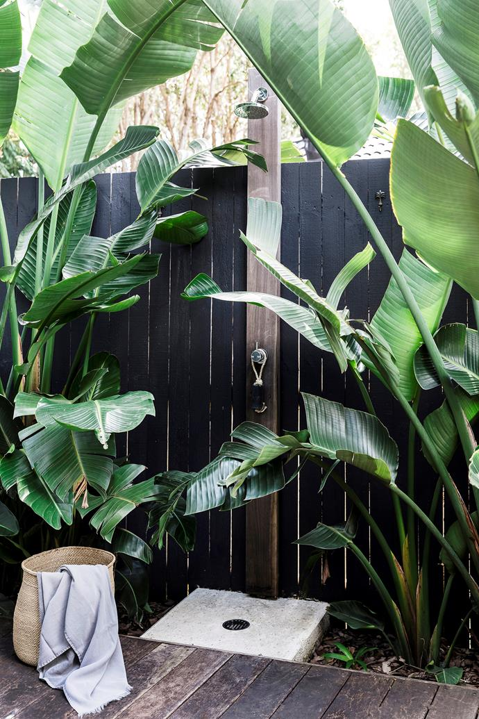 "The [outdoor shower](https://www.homestolove.com.au/outdoor-shower-ideas-19532|target=""_blank"") comes in handy after trips to the beach and afternoons spent poolside."
