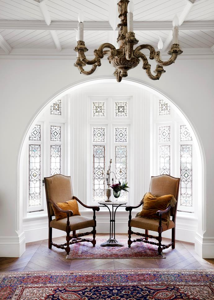 Tanya Hancock Architects were hired to turn this Gothic Revival house into a light-filled family home. Antique timber chandelier from Elements I Love. Louis XVI chairs from The Country Trader. Antique bistro table from Le Marché Antiques. *Photograph*: Prue Ruscoe | *Styling*: Alexandra Gordon. From *Belle* November 2018.