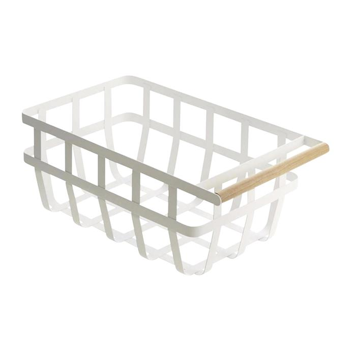 "Tosca single handle storage basket, $59, [Paper Plane](https://www.paperplanestore.com/products/toscastoragebasket-doublehandle|target=""_blank""