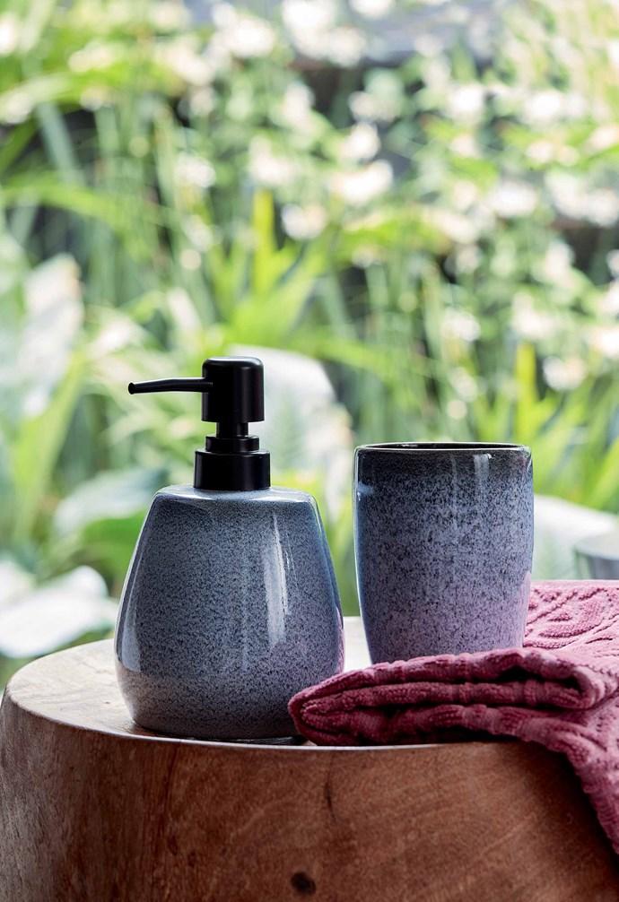 "Reactive glaze ceramic tumbler, $5, Reactive glaze ceramic soap dispenser, $8, [Target](https://www.target.com.au/|target=""_blank""|rel=""nofollow"")."