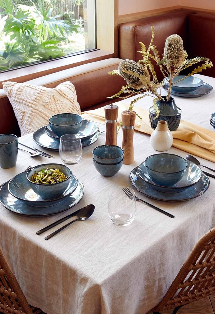 "Reactive glaze dinnerware, $4 each, Aria ceramic vase, $10, Woven dining chair, $79, [Target](https://www.target.com.au/|target=""_blank""|rel=""nofollow"")."