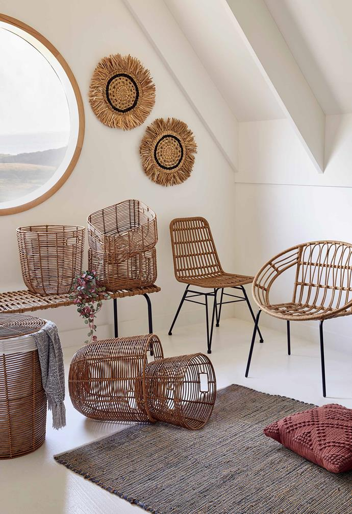 "Woven dining chair, $79, Willa woven chair, $49, Woven bench, $79, Woven rattan plastic basket small, $15, Woven rattan plastic basket large, $20, Woven rattan plastic rectangle basket, $15, Woven rattan plastic hamper, $39, Round woven rattan wall hanging, $20, [Target](https://www.target.com.au/|target=""_blank""