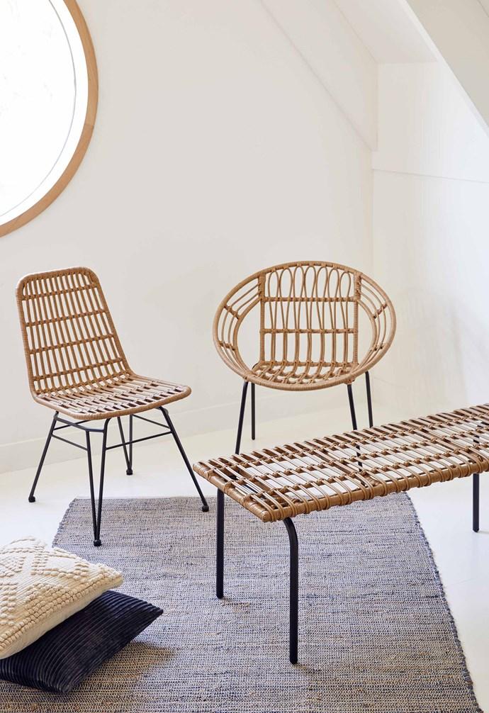 "Woven dining chair, $79, Willa woven chair, $49, Woven bench, $79, [Target](https://www.target.com.au/|target=""_blank""|rel=""nofollow"")."