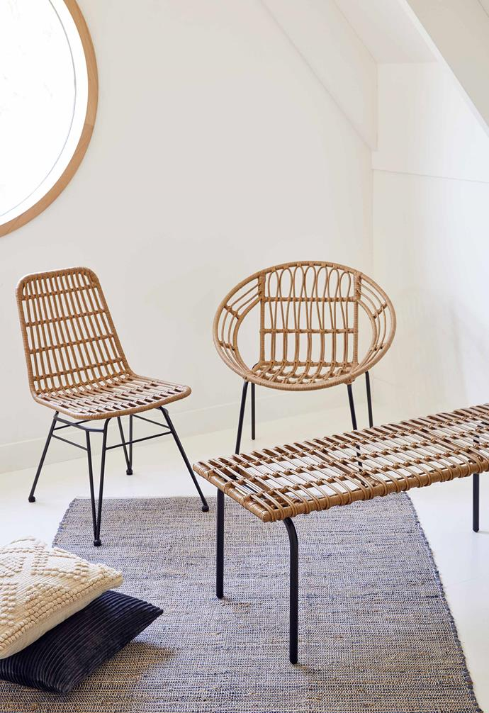 "Woven dining chair, $79, Willa woven chair, $49, Woven bench, $79, [Target](https://www.target.com.au/|target=""_blank""