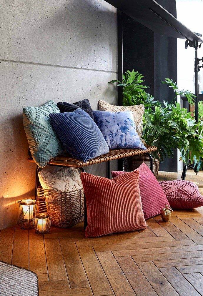 "Allegra cushions (natural, sage and rose), $20 each, Mara ribbed velvet cushions (musk, denim blue, charcoal and terracotta), $15 each, Dulcie velvet print cushion, $15, [Target](https://www.target.com.au/|target=""_blank""