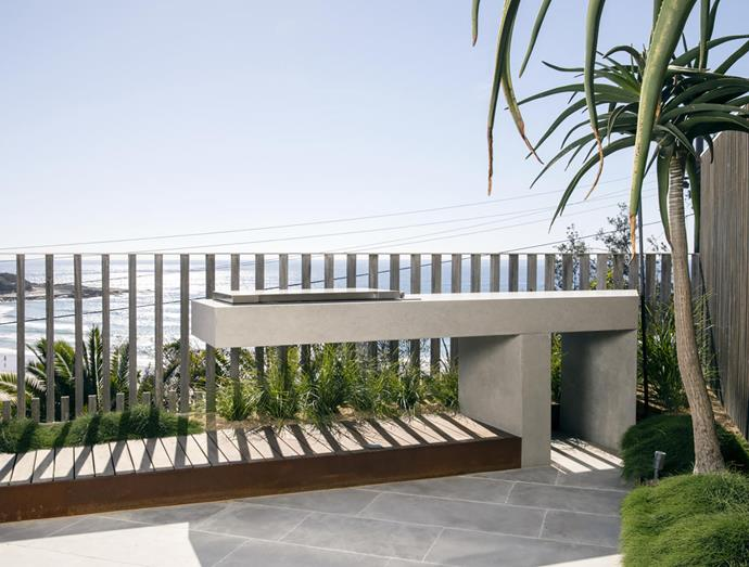 Sharp design details such as this custom barbecue feature in the scheme.