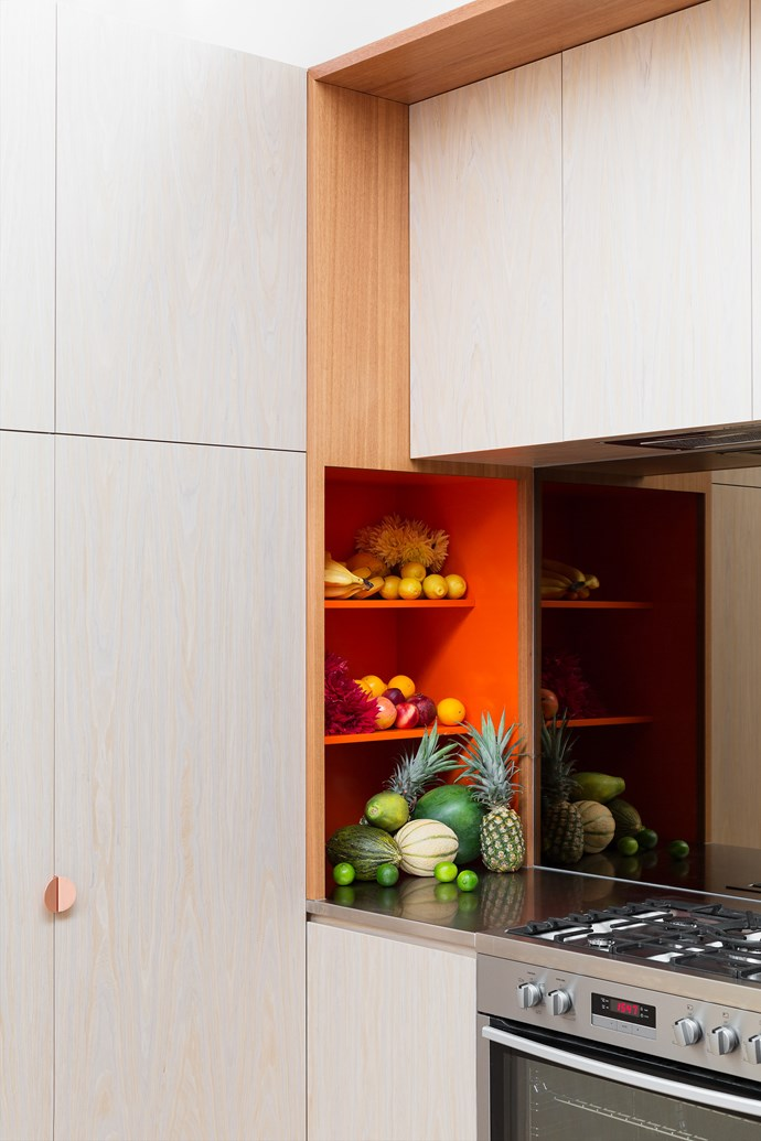 """**Style tip:** Paint the inside of your joinery or the back of your bookcase for a fun peek of colour. *Photo* Martina Gemmola, courtesy of [WOWOWA](http://www.wowowa.com.au/